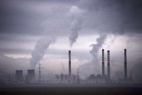 Smoke rising from stacks of a thermal power station in Sofia on February 14, 2013