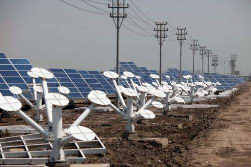 Solar panels in the Sino-Singapore Eco-city near Tianjin on June 11, 2012