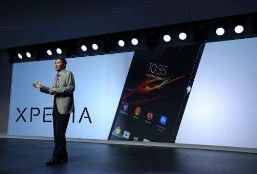 Sony CEO Kazuo Hirai addresses a press conference at the International CES on January 7, 2013