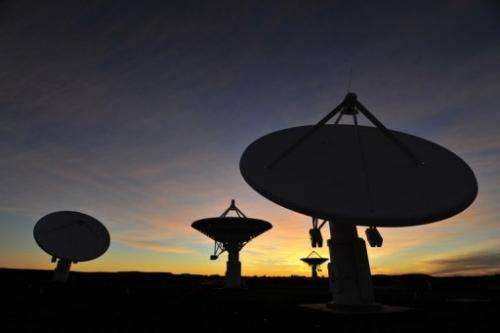 South Africa's Karoo-based KAT-7 radio telescope array at sunset at the Square Kilometre Array (SKA) in Karoo