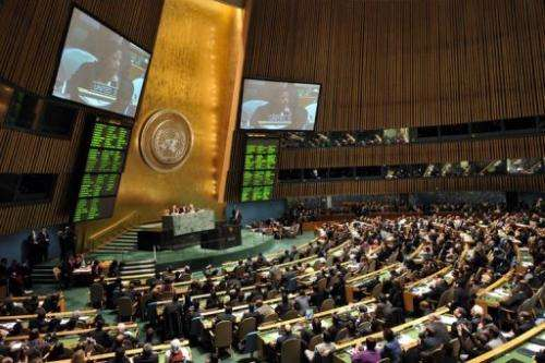 Susan Rice, US Ambassador to the UN, on the TV screens during a General Assembly vote on November 29, 2012 in New York