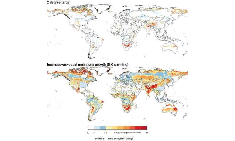 Terrestrial ecosystems at risk of major shifts as temperatures increase