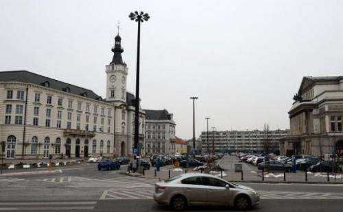Theater Square in Warsaw is pictured on March 21, 2013