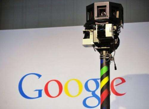 The camera of a street-view car is seen on the Google street-view stand at the CeBIT fair in Hanover on March 3, 2010