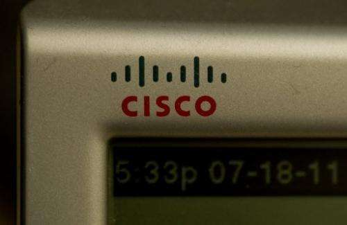 The Cisco logo is seen on a telephone in Washington on July 18, 2011