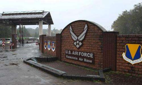 The entrance to the US Airbase is pictured in Ramstein, southern Germany, on November 6, 2013
