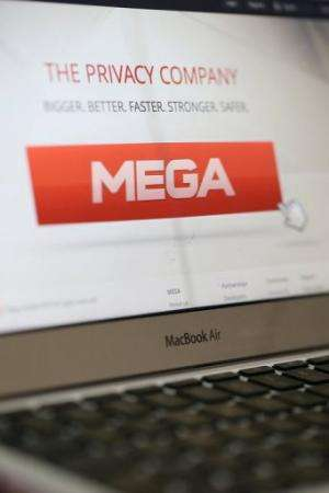 The homepage of Kim Dotcom's new Mega website is displayed on a computer screen on January 21, 2013