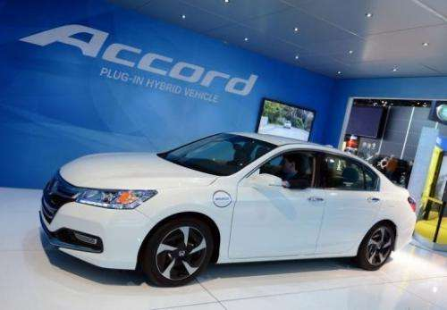 The Honda Accord plug-in hybrid, at the 2013 North American International Auto Show in Detroit, on January 15, 2013