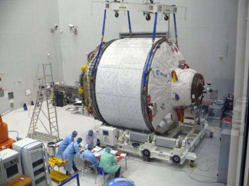 The ICC portion of ATV Albert Einstein is weighed at Kourou space center, French Guiana, on January 16, 2013