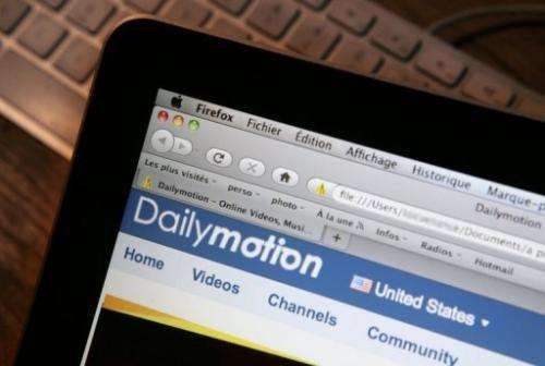 The internet homepage of the Dailymotion website is shown on a screen, January 27, 2010 in Paris