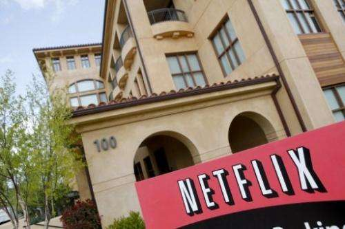 The Netflix company logo is seen at Netflix headquarters in Los Gatos, CA, on April 13, 2011