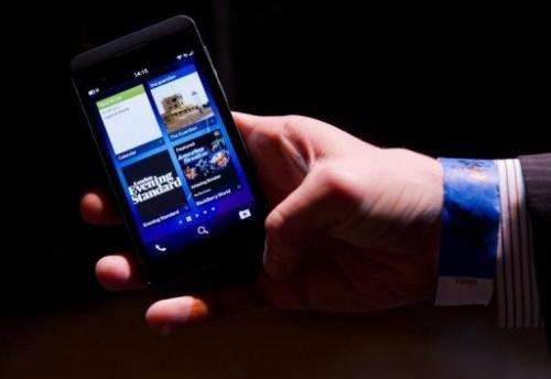 The new touchscreen Z10 Blackberry device is highlighted at its launch in central London on January 30, 2013