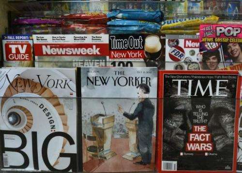 The New Yorker magazine is diplayed in an Upper East Side newstand in New York  on October 9, 2012