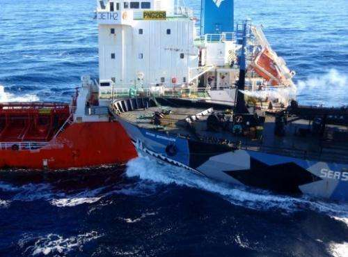 The Sea Shepherd ship Bob Barker collides with a Japanese whaling fuel tanker in Antarctica on February 25, 2013