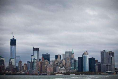 The skyline of lower Manhattan is seen from the Staten Island Ferry prior on October 28, 2012 in New York City