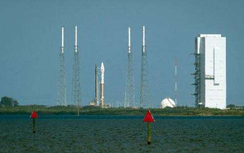 The United Launch Alliance Atlas V rocket with NASA''s Mars Atmosphere and Volatile Evolution (MAVEN) spacecraft on board sits a