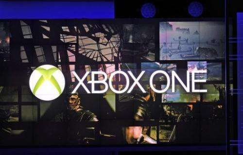 The XBox One logo is seen at a Microsoft Xbox briefing in Los Angeles on June 10, 2013