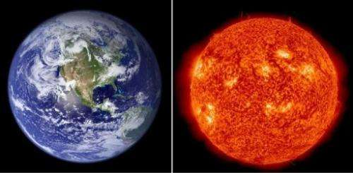 This combination image shows a NASA file photo of the Earth and a January 2, 2013 handout image of the Sun