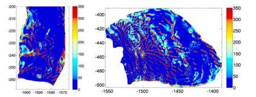 'Tiger stripes' underneath Antarctic glaciers slow the flow