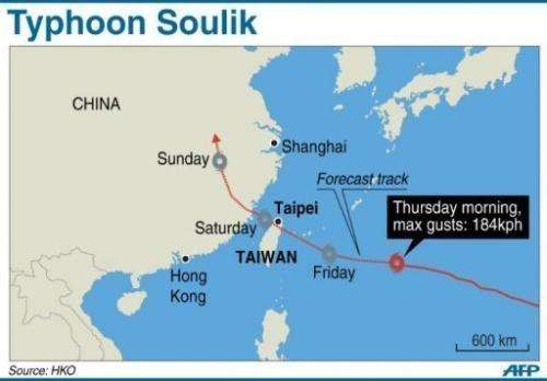 Typhoon Soulik is packing gusts of up to 184 kph