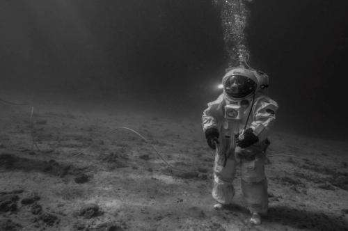 Underwater astronaut on the Moon