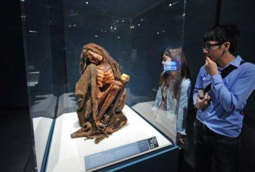Viewers look at an ancient mummy from Peru at an exhibition on June 30, 2010 in Los Angeles
