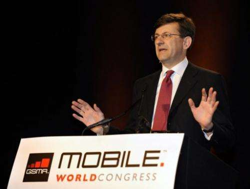 Vittorio Colao CEO of Vodafone gives a speech in Barcelona on February 17, 2009