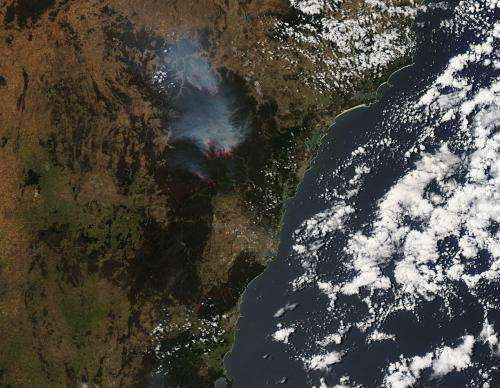 Wollemi National Park bushfires in New South Wales, Australia