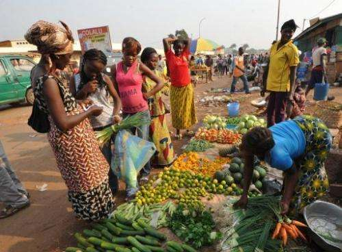 Women buy vegetables in a market in Bangui, Central African Republic on December 28, 2012