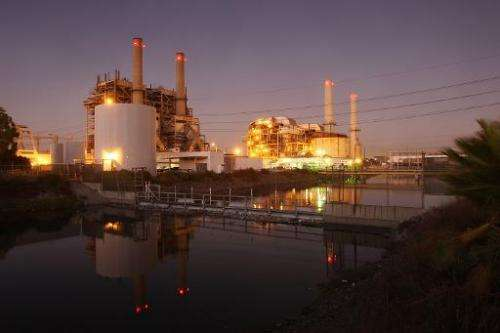 A natural gas-fired power station stands on October 1, 2009 in Long Beach, California