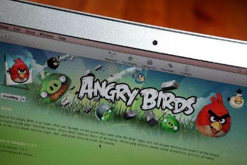 "An image of the popular video game ""Angry Birds"" is displayed on a laptop on March 18, 2011, in San Anselmo, Californi"