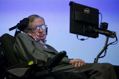 British theoretical physicist professor Stephen Hawking speaks to members of the media at a press conference in London on Decemb