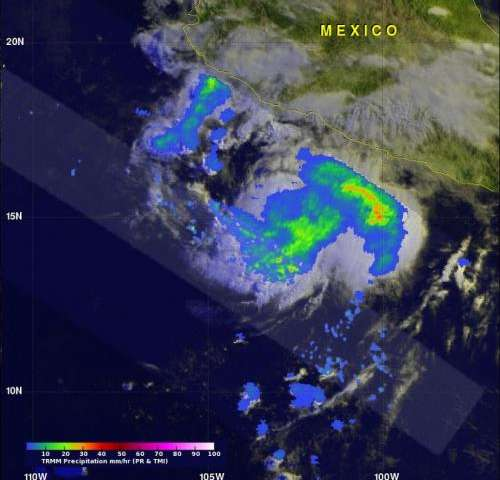 Cristina now a hurricane, NASA's TRMM satellite sees heavy rainfall within