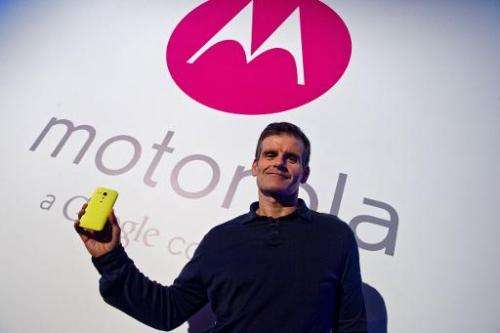 "Dennis Woodside, CEO of Motorola Mobility, introducesg the company's new low cost smartphone ""Motorola Moto G"", in Sao"