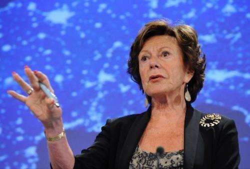 EU commissioner for Digital Agenda Neelie Kroes speaks during a press conference on September 12, 2013, at the EU Headquarters i