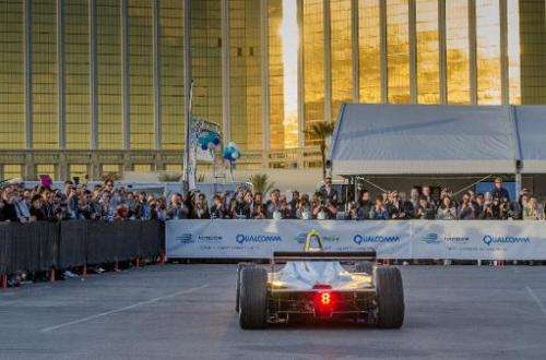 Formula E's new fully-electric race car, the Spark-Renault SRT_01E,  is test driven around the Mandalay Bay Resort & Casino