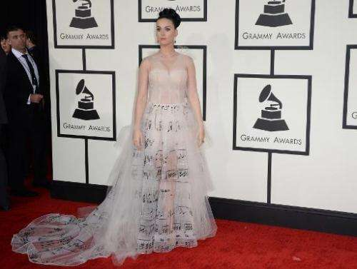Katy Perry arrives at the 56th Grammy Awards at the Staples Center in Los Angeles, California, January 26, 2014