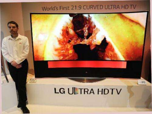 LG's ultra HD television with 105-inch curved display is seen at the LG press conference at the Mandalay Bay Convention Center f