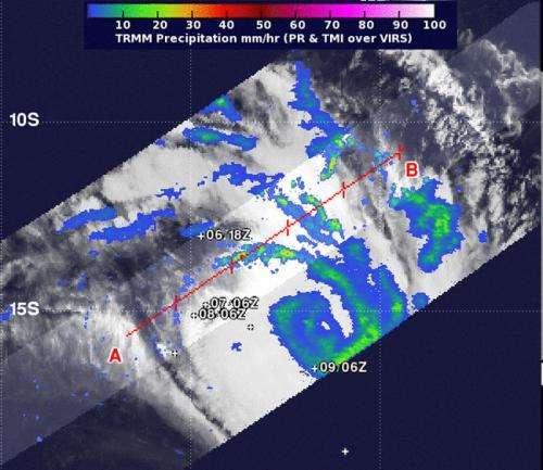 NASA's TRMM satellite eyes rainfall in Tropical Cyclone Fobane