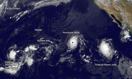 Satellite view of a hyperactive Eastern and Central Pacific Ocean