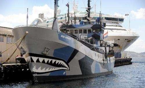 Sea Shepherd ship 'Bob Barker' is moored in Hobart on December 13, 2011