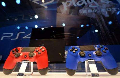 Sony's PlayStation 4 video game consoles are pictured on February 1, 2014 at the Ginza Sony building in Tokyo