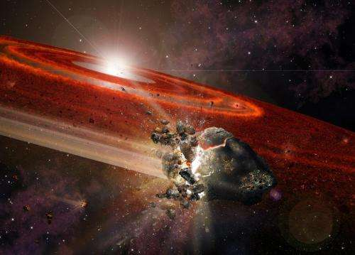 Swarms of Pluto-size objects kick-up dust around adolescent Sun-like star