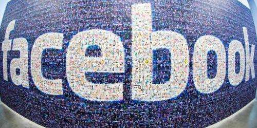 The Facebook logo created from pictures of Facebook users worldwide in the company's Data Center, on November 7, 2013 in Luleaa,