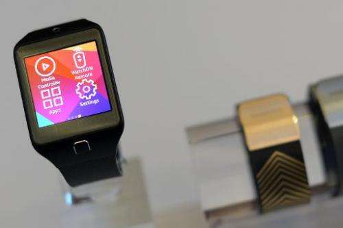 The Samsung Galaxy Gear 2 is presented during the 2014 Mobile World Congress in Barcelona on February 23, 2014