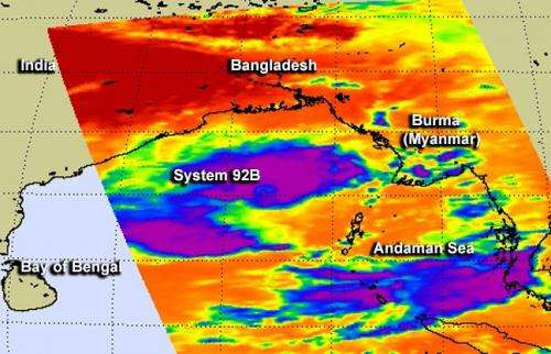 Two NASA Satellites see System 92b headed north in Bay of Bengal
