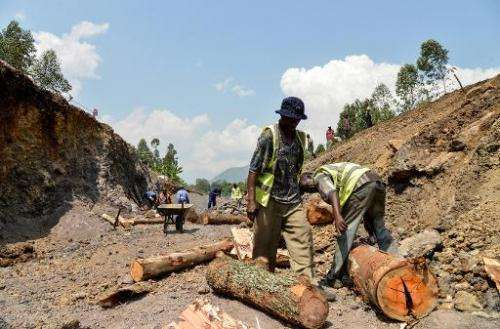 Workers in the Virunga National Park dig and scour the bed of a future canal in Matebe, some 75 kms north of Goma, eastern Democ