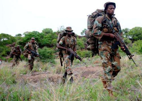 File picture shows a South African anti-poaching task team on patrol in Kruger National Park