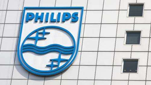 File photo taken on April 16, 2007 shows the logo of the Dutch medical and consumer electronics giant Philips at its headquarter