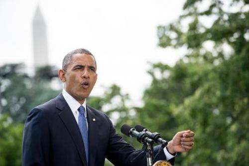 US President Barack Obama, pictured as he makes a statement on the South Lawn of the White House, in Washington, DC, on June 13,